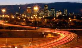 City and the traffic. Nignt scape of a city and it's traffic Royalty Free Stock Photography