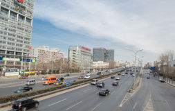 City Traffic. On Beijing's main roads, vehicles and from busy,This photo was taken on March 9, 2014 Stock Images
