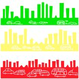 City traffic background, Doodle pattern color emblem is green, yellow, red. Stock Photo