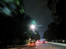 City Traffic Blur. Blurry image of buildings and night traffic in Jakarta, Indonesia Stock Photography