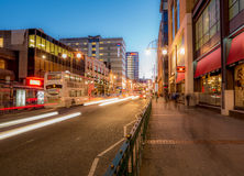 City traffic on Broad Street, Birmingham, at dusk Stock Images