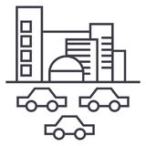 City,traffic, cars vector line icon, sign, illustration on background, editable strokes Royalty Free Stock Image
