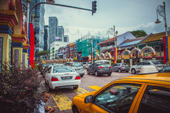 City traffic in the Chinatown, Kuala Lumpur stock photo