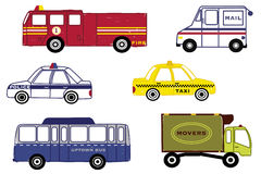 City Traffic Vector Illustration Wall Art. City Traffic Clipart: file contains fire truck, mail truck, police car, taxi, city bus and delivery truck Stock Images