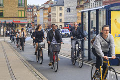 City traffic in Copenhagen. COPENHAGEN, DENMARK - JUNE 29, 2016:This is a mass bicycle traffic in the city on special bike paths Royalty Free Stock Photos