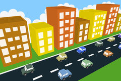 3d buildings city traffic. Many 3d cars running in opposite direction, tall buildings as background. aerial view illustration Royalty Free Stock Photos