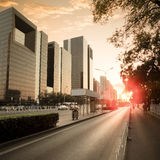 City traffic in dusk Royalty Free Stock Photography