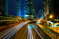 City traffic Hong Kong. Traffic in central Hong Kong at night stock images