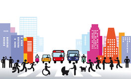 City and traffic illustration Royalty Free Stock Photography