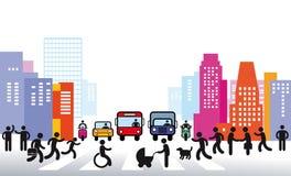 City and traffic illustration. An illustration of a city and its traffic vector illustration