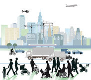 City and traffic. An illustration of a modern city, people, traffic and transportation stock illustration