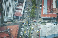 City traffic jam aerial - many cars on street during rush hour Royalty Free Stock Images