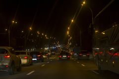 City traffic jam. A lot of cars at highway.  stock images