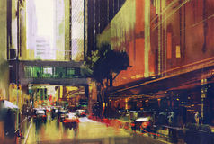 City traffic jam on the street. Colorful painting of city traffic jam on the street Royalty Free Stock Photography