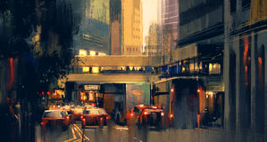 City traffic jam on the street. Painting of city traffic jam on the street at evening Royalty Free Stock Images
