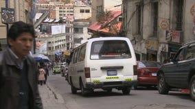 City traffic in La Paz, Bolivia (2) stock video