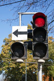City traffic light with side section  shows red Royalty Free Stock Photos