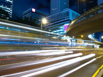 City Traffic at Night. Traffic light strips at night in city Royalty Free Stock Photos