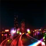 CITY TRAFFIC AT NIGHT Stock Photography