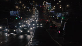 City traffic at night in Moscow Stock Image