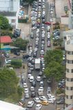 City traffic, packed street during rush hour - cityscape aerial Stock Photos