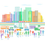 City with traffic and pedestrians. An illustration of a large city with different vehicles in traffic and pedestrians, commuters and other people in the front stock illustration