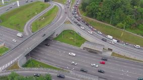 City traffic during rush hour, busy road junction. Aerial view. Stock footage stock video