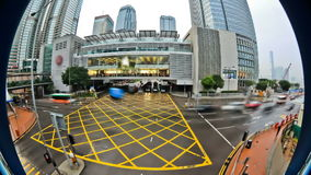City Traffic Time Lapse Hong Kong Fisheye stock video footage