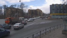 City traffic time lapse. Rush hour in St. Petersburg  Tilt Shift film stock video