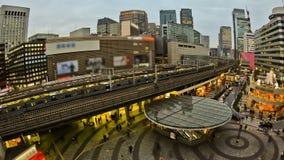 City Traffic Time Lapse Tokyo Ginza Station Fisheye. V35. City traffic time lapse of Ginza train station using fisheye lens stock video