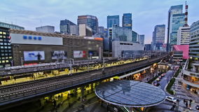 City Traffic Time Lapse Tokyo Ginza Station. V34. City traffic time lapse of Ginza train station stock video footage