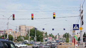 City Traffic With Traffic Lights on Crossroad stock footage