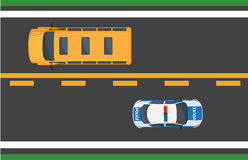 City Traffic Vector Concept with Cars on Highway. Active city traffic concept. School bus and police car goes on opposite road lanes top view flat vector. Urban vector illustration