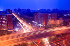 City traffic on the viaduct at night Royalty Free Stock Photography