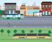 City traffic. View on city streets with heavy traffic and shops. Vector illustration stock illustration