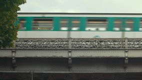 City train on sky background. stock footage