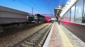 City train station Podolsk. RUSSIA, MOSCOW - MAY 20, 2019: Directions City train at the station Podolsk in May 2019 in Moscow Russian Federation stock video footage