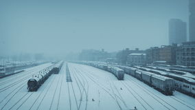City Train Yard In Blizzard stock footage