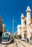 Tram at the Abdellah Ben Salem Mosque in Oran, Algeria Royalty Free Stock Image