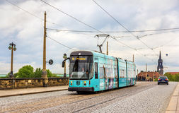 City tram on Augustus bridge in Dresden Stock Images