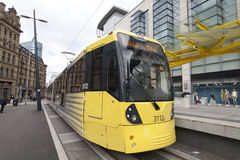 City Tram at Manchester, United Kingdom. City tram parked at the station awaiting passengers at Manchester, UK Stock Images