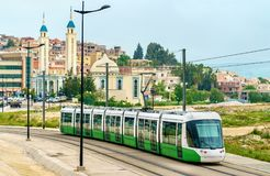 City tram and a mosque in Constantine, Algeria Stock Photos