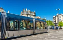 City tram on Place de la Victoire in Bordeaux, France Stock Image