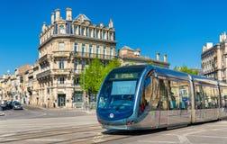 City tram on Place de la Victoire in Bordeaux, France Stock Photography