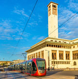 City tram on a street of Casablanca, Morocco. City tram on a street of Casablanca in Morocco Stock Photos