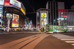 City tram at Susukino intersection Stock Image