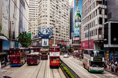 City trams in Hong Kong Stock Images