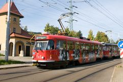 City trams in Liberec - electric vehicle Royalty Free Stock Photo