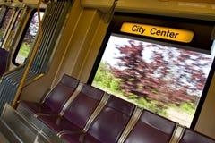 City transit rail system. City center sign inside moving city rail transit stock photography
