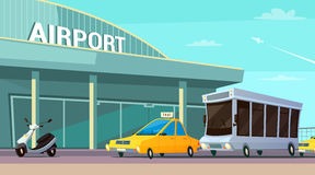 City Transport Cartoon Composition. With airport terminal taxi car scooter and passenger bus at plane taking off background flat vector illustration Stock Photos